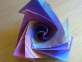 怎么折纸很酷三角玫瑰花的折法步骤图解
