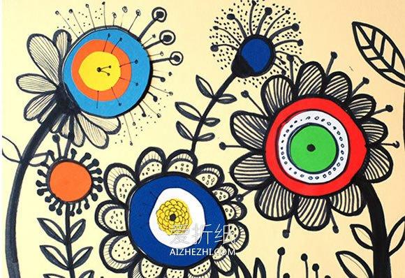 幼儿园黑色卡纸儿童画_怎么手工做花朵贴画的制作方法简单又好看_爱折纸网