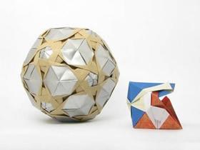 立体五边形图案纸花球的折法详细步骤图解