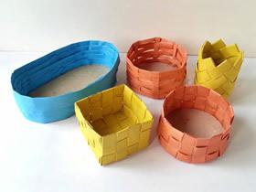 怎么折纸五种纸篓纸篮的折法详细图解教程