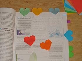 怎么折纸爱心书签的折法过程步骤图解