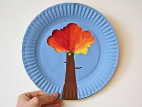 怎么用纸盘做四季变化大树的制作方法教程