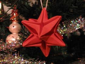 怎么折纸圣诞星礼物挂饰的折法详细步骤图解