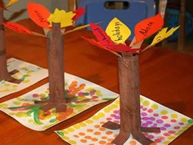 怎么做秋天保鲜膜筒大树的简单手工制作教程