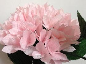 怎么做粉色皱纹纸绣球花的手工制作教程