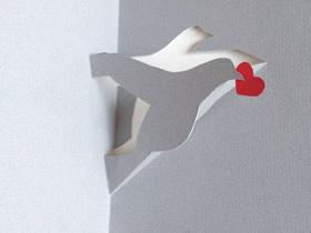 怎么做情人节立体鸽子/鹳贺卡的制作方法图解