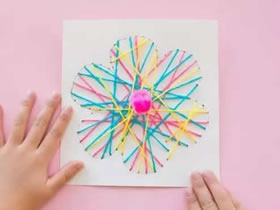 怎么用毛线绕线做母亲节花朵贺卡的制作方法