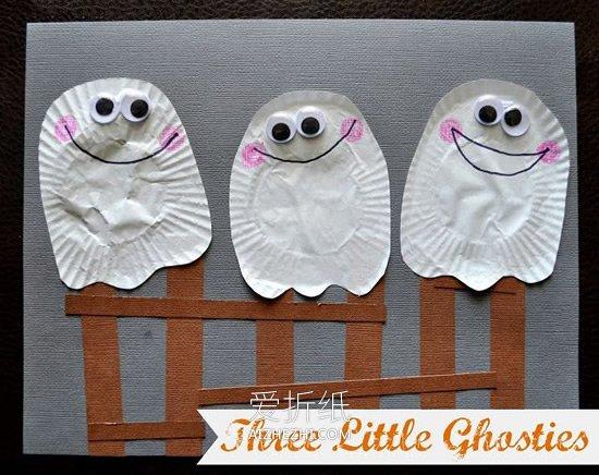 幼儿园黑色卡纸儿童画_怎么简单做万圣节三只幽灵卡片的制作方法_爱折纸网