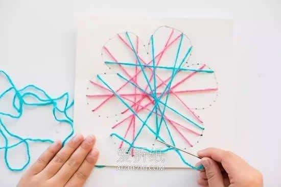 怎么用毛线绕线做母亲节花朵贺卡的制作方法- www.aizhezhi.com