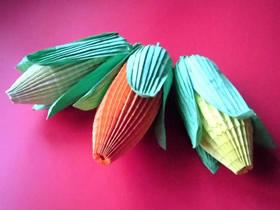 怎么折纸复杂立体玉米的折法步骤图解