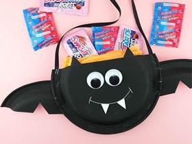 怎么用纸盘做万圣节蝙蝠糖果盒的制作方法