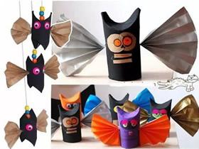怎么用卷纸芯做万圣节搞笑蝙蝠的制作方法