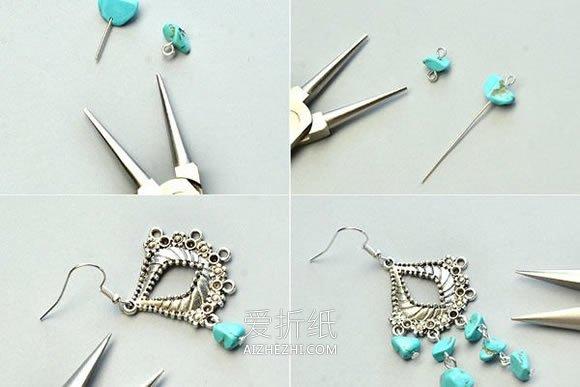漂亮绿松石耳环的制作方法- www.aizhezhi.com