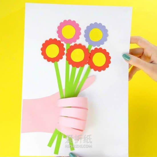 布娃娃花束怎么做_怎么做创意母亲节手拿花束贺卡的制作方法_爱折纸网