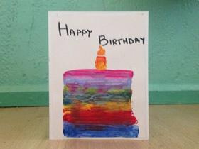 怎么用手绘蛋糕做生日卡片的制作方法