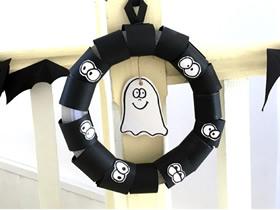 万圣节幽灵花环的制作方法