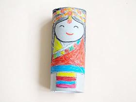 怎么用手绘做卷纸芯少数民族人偶的制作方法