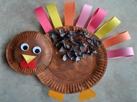 怎么用纸盘手工制作火鸡的方法图解