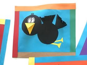 怎么用卡纸做乌鸦粘贴画的制作方法图解
