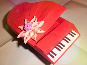 怎么手工折纸复杂钢琴的折法图解