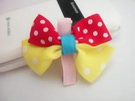 缎带手工制作蝴蝶结发卡的方法