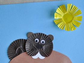 蛋糕纸手工制作土拨鼠贴画的方法