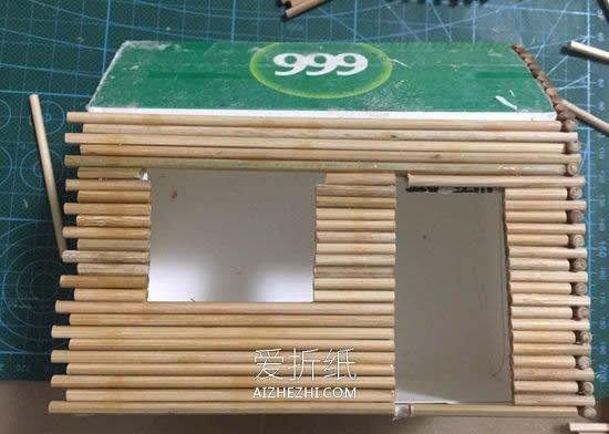 一次性筷子手工制作小木屋模型的方法- www.aizhezhi.com