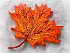 衍纸手工制作秋天金黄色枫叶的方法