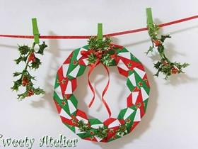 简单又漂亮圣诞花环的折法图解