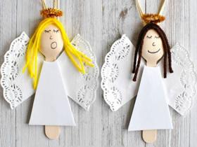 怎么用木勺做圣诞节天使装饰的方法