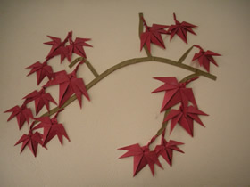 折纸红枫做漂亮贴画的方法