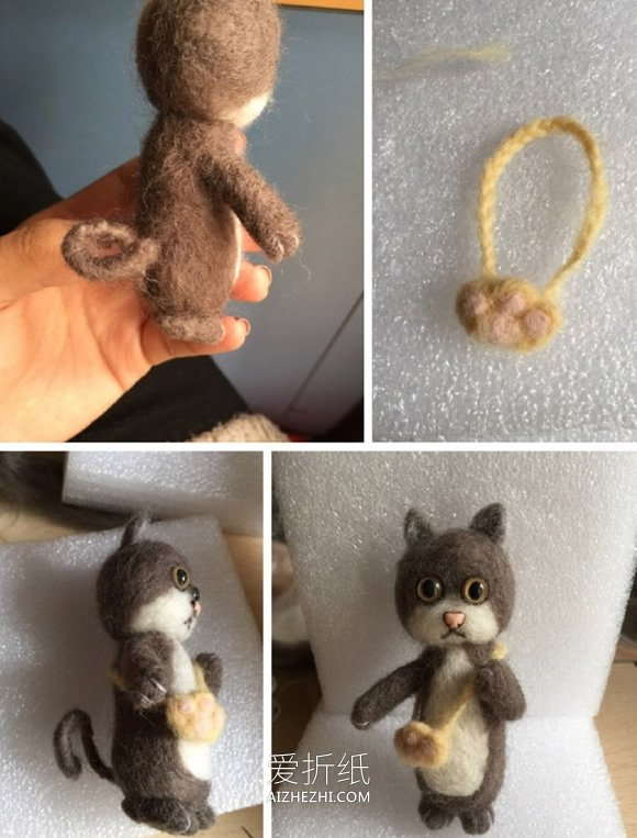 羊毛毡猫咪的制作方法图解- www.aizhezhi.com