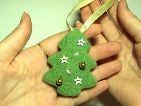 羊毛毡圣诞树挂件的制作方法
