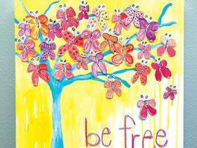 漂亮蝴蝶树装饰画的制作方法