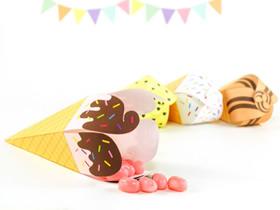 可爱冰激凌糖果盒的折法