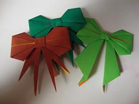 漂亮蝴蝶结的折纸方法图解