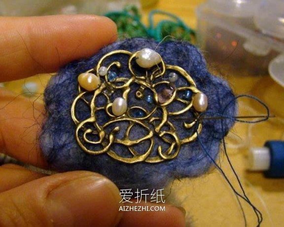 精美羊毛毡小羊胸针的制作方法- www.aizhezhi.com