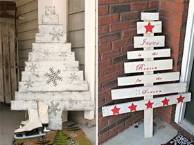 怎么用废旧木条做圣诞树装饰的方法