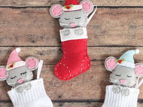 不织布和袜子制作圣诞节老鼠挂饰的方法