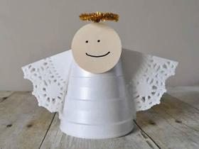 一次性泡沫杯制作圣诞天使装饰的方法