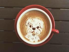 可爱的咖啡拉花作品图片