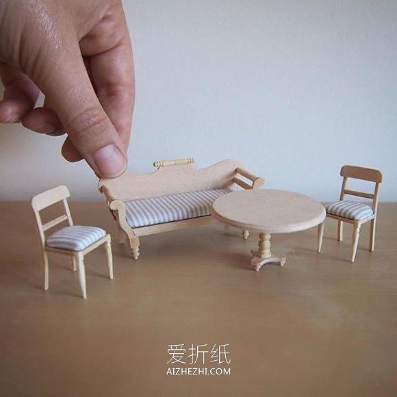 迷你手工家具模型作品图片- www.aizhezhi.com