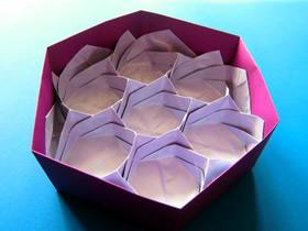 漂亮蜂巢收纳盒的折法图解