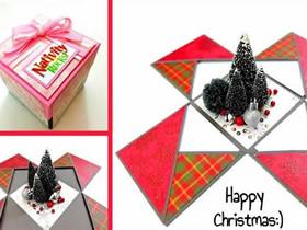 圣诞节爆炸盒子制作图解教程