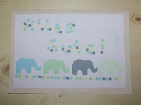 简单大象图案生日贺卡的制作方法