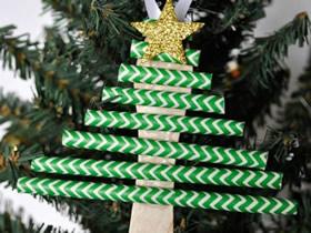 纸吸管手工制作圣诞树挂饰的方法