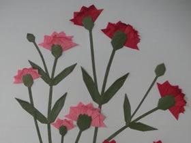 折纸康乃馨制作母亲节贴画的方法