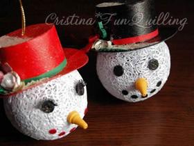 衍纸制作立体圣诞雪人挂饰的教程