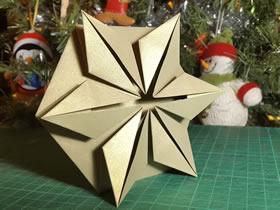 六角星圣诞贺卡的折法图解