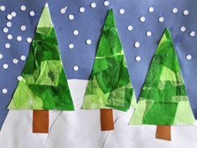 圣诞树纸贴画手工制作